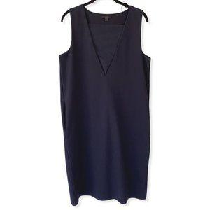 Cos Navy Blue Sleeveless Shift V Neck Dress